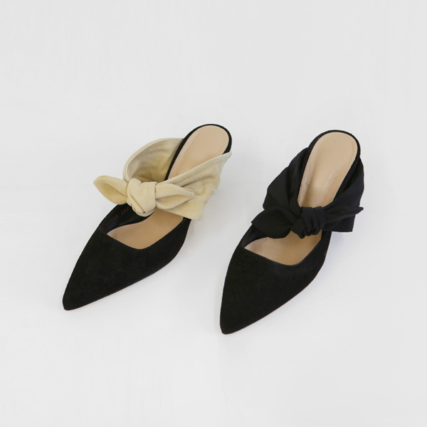ribbon suede-mule