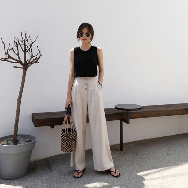 button wide-pants