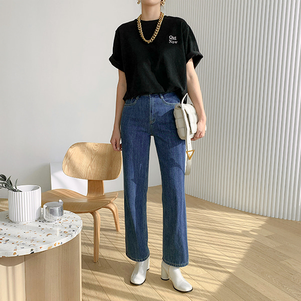 line denim-pants