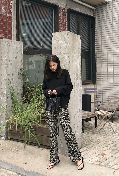 leopard wide-pants